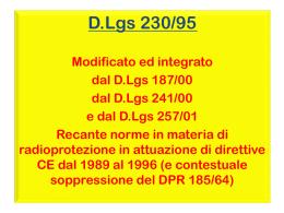 DLgs 230/95 norme in materia di radioprotezione