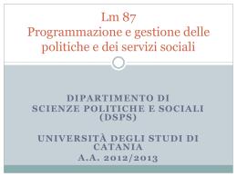 Lm 87 Programmazione e gestione delle politiche e dei servizi sociali