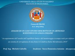 Presentazione caso studio-Antonio Turco - Corso di Frane