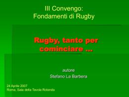 Rugby, tanto per cominciare