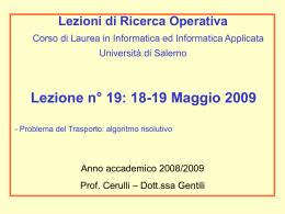 Metodo dell`angolo di Nord-Ovest - Università degli Studi di Salerno