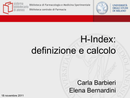 Come si calcola H-index Biblioteca di Farmacologia e Medicina