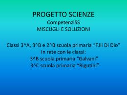 PROGETTO SCIENZE CLASSI 3^A, 3^B E 2^B