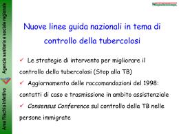 Nuove linee guida nazionali in materia di controllo della tubercolosi