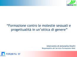 Formazione contro le molestie sessuali e progettualità in un
