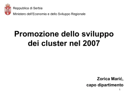 Promozione dello sviluppo dei cluster nel 2007