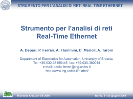 Strumento per l`analisi di reti real time Ethernet