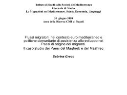 Greco - Istituto di Studi sulle Società del Mediterraneo