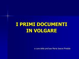 001_2 - I primi documenti in volgare