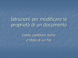 Lezione I - Modificare le proprietà di un documento