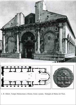 LB Alberti, Tempio Malatestiano a Rimini, fronte e pianta, Medaglia
