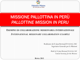 Missione Pallottina in Perù Pallottine Mission in Peru