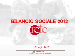 Scarica l`abstract di presentazione del Bilancio Sociale 2012