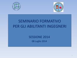 seminario formativo per gli abilitanti ingegneri