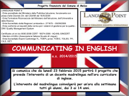 progetto communicating in english