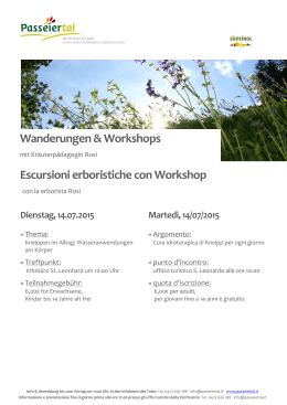 Wanderungen & Workshops Escursioni erboristiche con Workshop