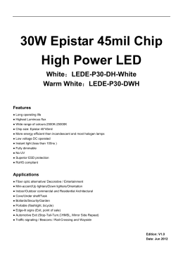 30W Epistar 45mil Chip High Power LED White