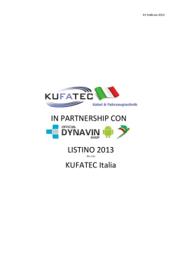 LISTINO 2013 KUFATEC Italia IN PARTNERSHIP
