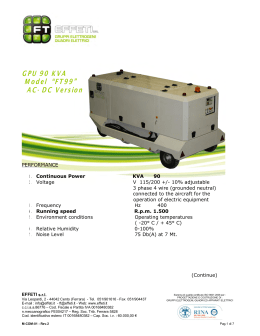 Ground Power Unit FT99 stage II Specification Sheet