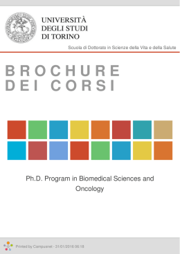Brochure dei corsi  - Ph.D. Program in Biomedical Sciences and