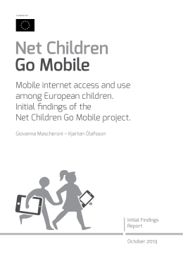 Mobile internet access and use among European children. Initial