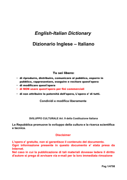 English-Italian Dictionary Dizionario Inglese – Italiano