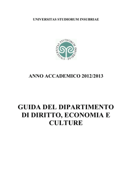 universitas studiorum insubriae - Università degli Studi dell`Insubria