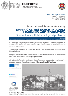 EMPIRICAL RESEARCH IN ADULT LEARNING AND EDUCATION