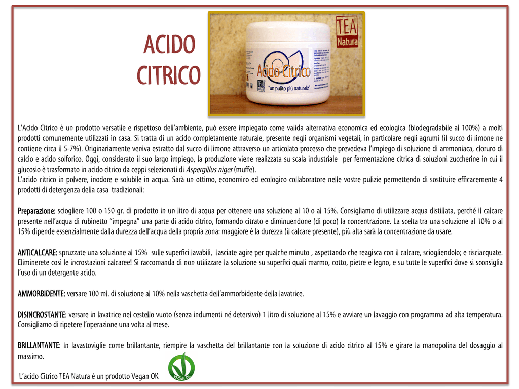 Acido Citrico Dosi Alimentari acido citrico