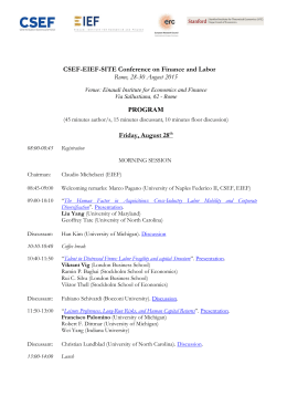 CSEF-EIEF-SITE Conference on Finance and Labor Rome, 28
