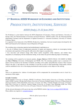 2nd BIANNUAL ASSISI WORKSHOP ON ECONOMICS AND