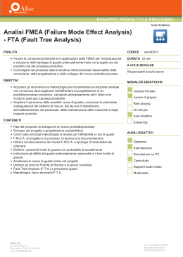 Analisi FMEA (Failure Mode Effect Analysis) - FTA (Fault Tree