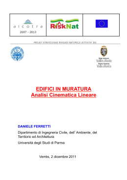 EDIFICI IN MURATURA Analisi Cinematica Lineare