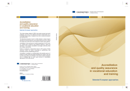 Accreditation and quality assurance in - Cedefop