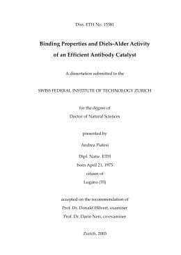 Binding Properties and Diels-Alder Activity of an - ETH E