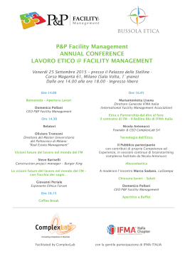 Programma dell`evento - P&P Facility Management