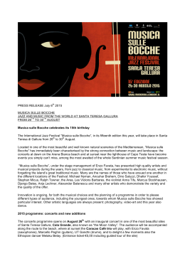 PRESS RELEASE July 6th 2015 MUSICA SULLE BOCCHE JAZZ