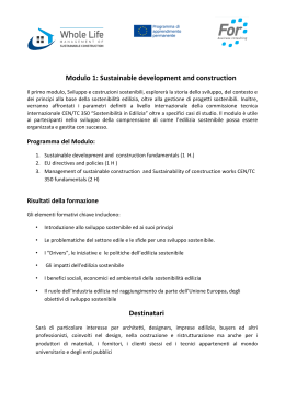 Modulo 1: Sustainable development and construction
