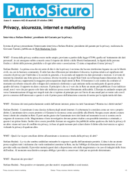 Stampa - Privacy, sicurezza, internet e marketing