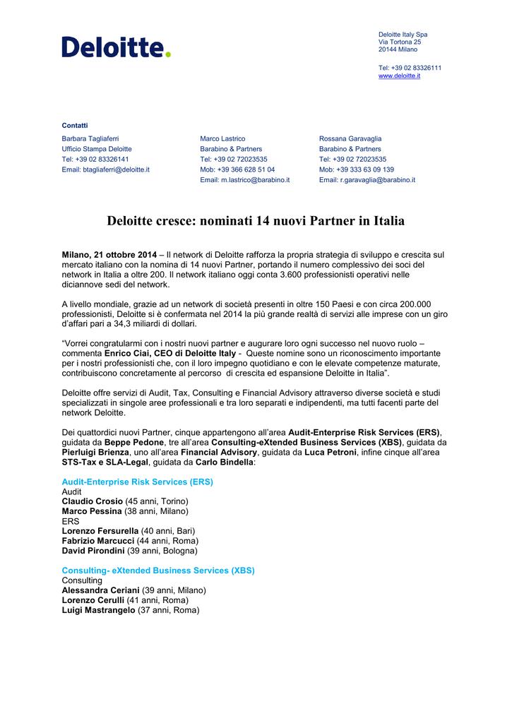 Deloitte Cresce Nominati 14 Nuovi Partner In Italia