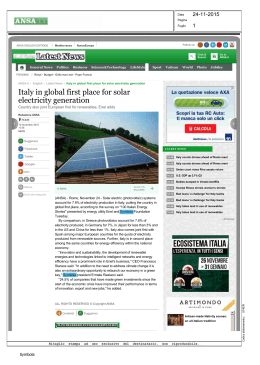 Latest News Italy in global first place for solar electricity