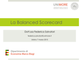 La Balanced Scorecard - Università di Urbino