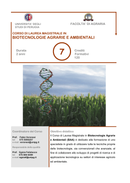 BIOTECNOLOGIE AGRARIE E AMBIENTALI