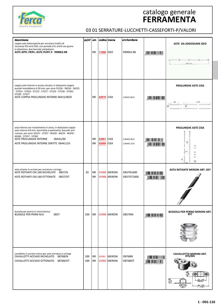 22 Misura 20 mm per cassetti Serratura da Incastrare Dorso Ottonato Meroni Art