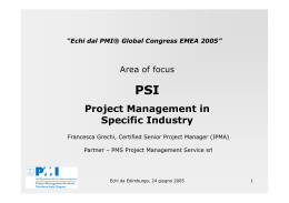 PSI Project Management in Specific Industry - Pmi
