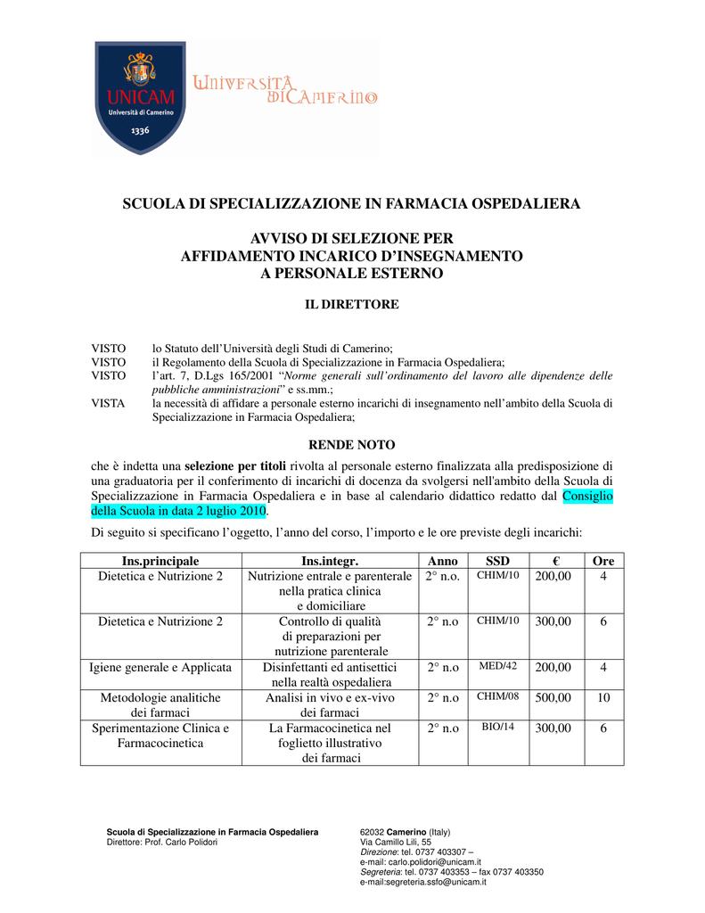 Unicam Calendario Didattico.Scuola Di Specializzazione In Farmacia Ospedaliera Avviso Di