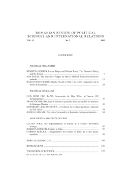 Romanian Review of Political Sciences and International Relations