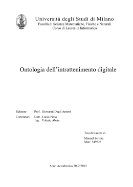 Ontologia dell`intrattenimento digitale