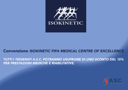 Convenzione ISOKINETIC FIFA MEDICAL CENTRE OF