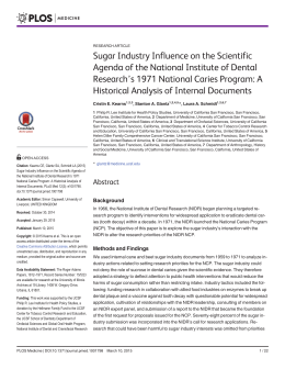 Sugar Industry Influence on the Scientific Agenda